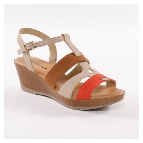 Blancheporte Kožené sandály na klínku, trojbarevné béžová/červená