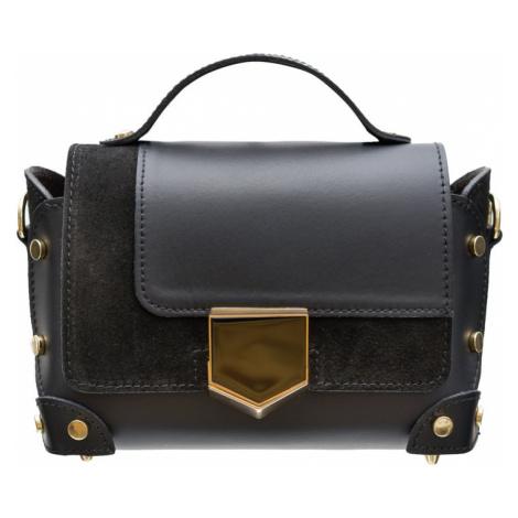 Dámská kožená crossbody kabelka se zdobením - černá Glamorous