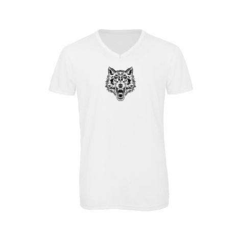 Pánské triko s výstřihem do V Vlk