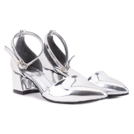 Stříbrné lesklé dámské moderní lodičky Audiel