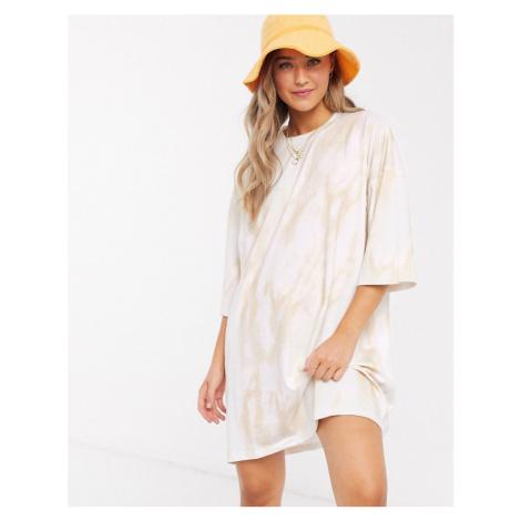 ASOS DESIGN oversized t-shirt dress in cream tie dye-White