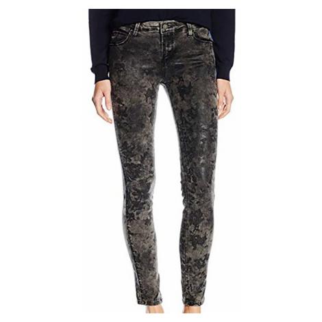 Tmavě šedé džíny s květy GUESS