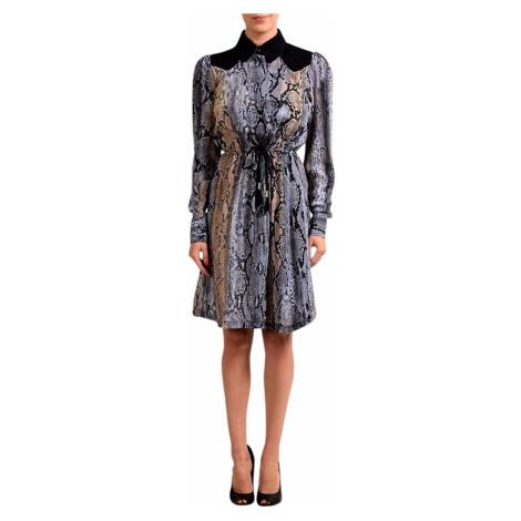 Luxusní fialovočerné šaty s hadím vzorem JUST CAVALLI