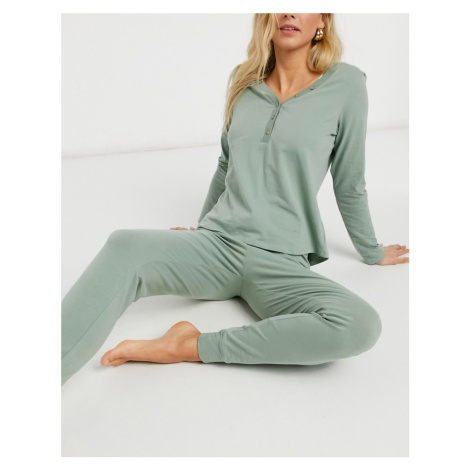Lindex Astrid organic cotton pyjama bottoms in dusty green
