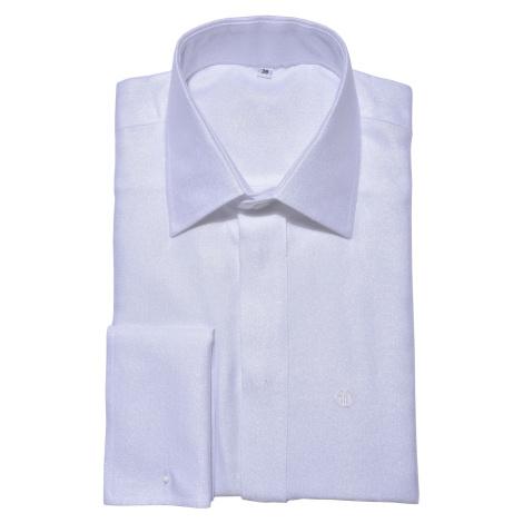 LIMITED EDITION Biela spoločenská Extra Slim Fit košeľa Alain Delon