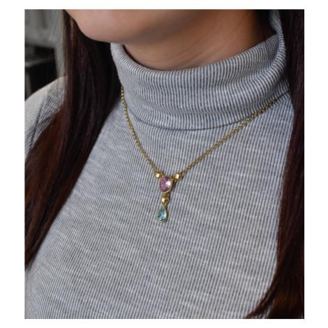 Evolution Group Stříbrný náhrdelník s krystaly Swarovski barevná kapka 72051.3
