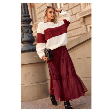 Maxi tylová sukně s lemy Romantická dámská dlouhá sukně Makadamia
