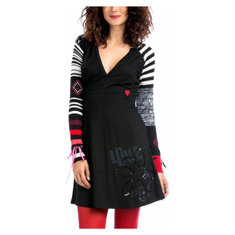 Šaty Desigual - úpletové rukávy