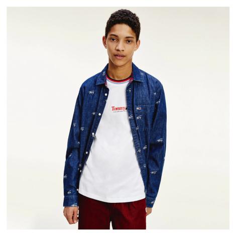 Tommy Jeans pánská modrá košile Critter Print Tommy Hilfiger