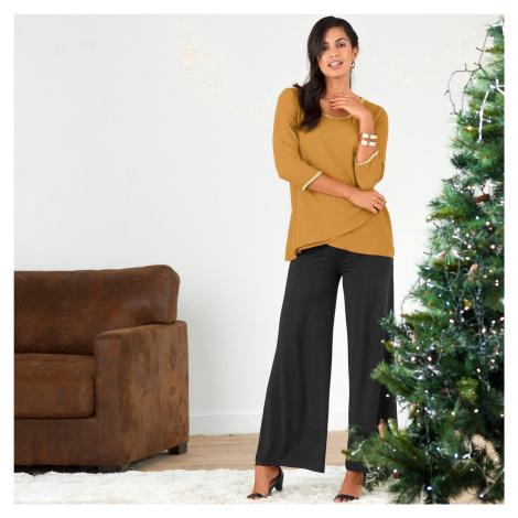 Blancheporte Široké úpletové kalhoty černá