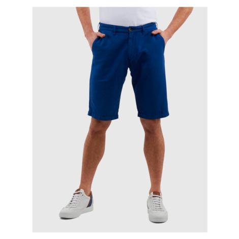 Šortky La Martina Man Bermuda Cotton Linen - Modrá