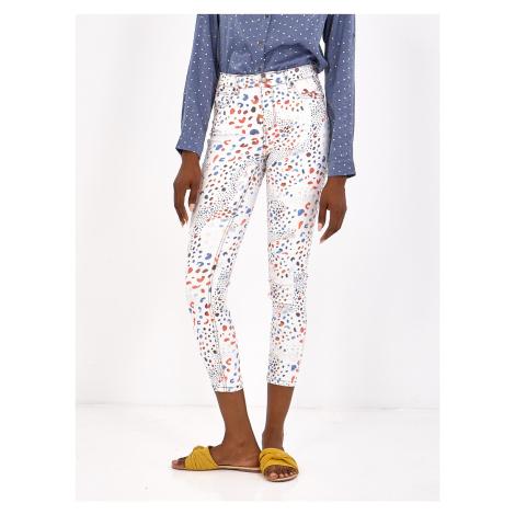 Smash HAPPY Dámské kalhoty bílé se vzorem
