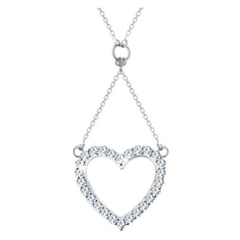 Stříbrný náhrdelník 925, řetízek a přívěsek - zirkonová kontura srdce Šperky eshop