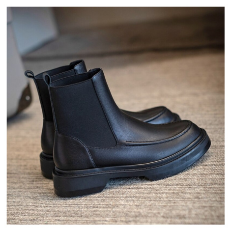 Kvalitní boty s přírodní kůže. Dámské Kožené chelsea boty kotníkové boty zateplené s plyšem uvni