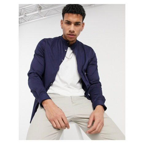 River Island long sleeve muscle fit shirt with grandad collar in navy