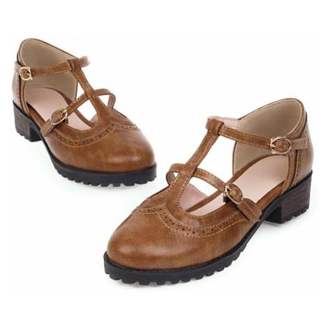 Letní kožené boty na platformě mini hranatý podpatek