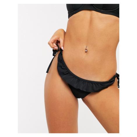 Pour Moi Fiesta Tie Side Ruffle Bikini Brief in Black