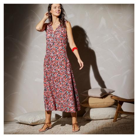 Blancheporte Dlouhé šaty bez rukávů, s potiskem květin černá/korálová