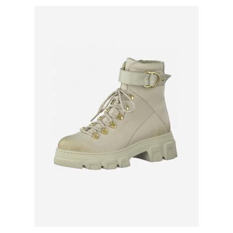 Krémové kožené kotníkové boty Tamaris