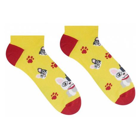 Žluté kotníkové ponožky Francouzský buldoček HestySocks