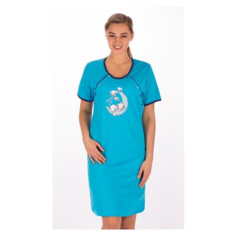 Dámská noční košile mateřská s krátkým rukávem Štěně na měsíci, S, lososová Vienetta Secret