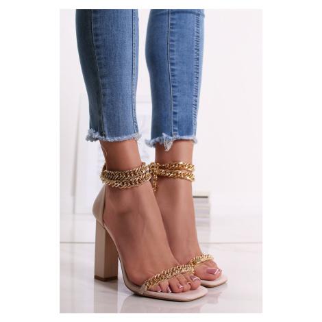 Béžové sandály na hrubém podpatku Amien Ideal
