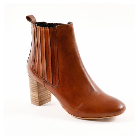 Blancheporte Kožené kotníkové boty na podpatku karamelová
