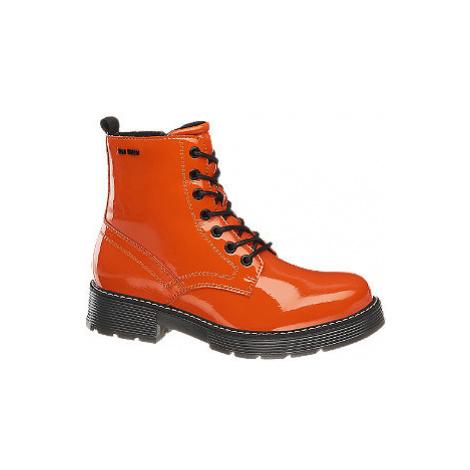 Oranžová lakovaná šněrovací obuv se zipem Tom Tailor