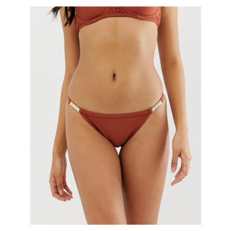 River Island strappy bikini brief with gold detail in brown