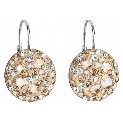 Stříbrné náušnice visací s krystaly Swarovski zlaté kulaté 31176.5 gold