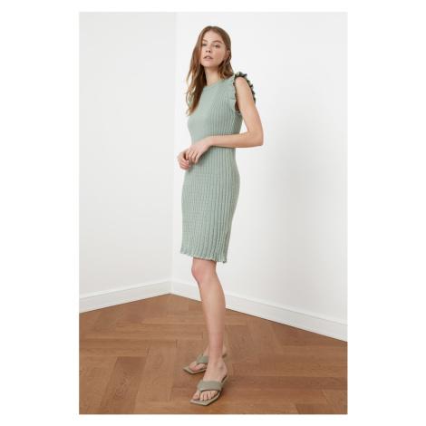 Trendyol Mint Arms Ruffly Knitwear Dress