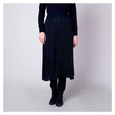Plisovaná midi sukně tmavě modrá se vzorem stříbrné nitky 11361 Willsoor