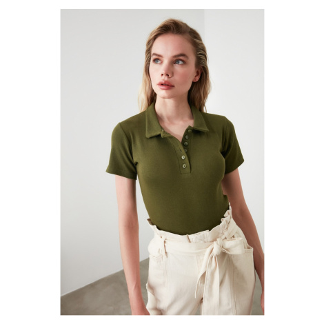 Trendyol Khaki Button Detailed Fitilli Knitted Blouse