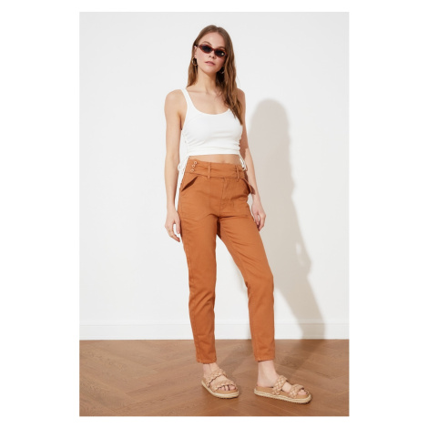 Trendyol Tan Button Detailed High Waist Mom Jeans