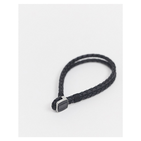 Hugo Boss braided leather bracelet in black with metal clasp