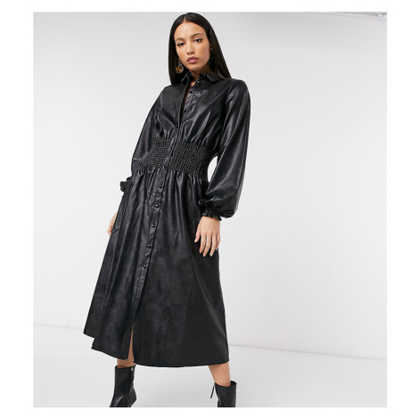 ASOS DESIGN Tall leather look midi shirt dress with shirred waist in black