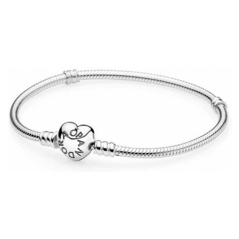 Pandora Stříbrný náramek se srdíčkovým zapínáním 590719cm