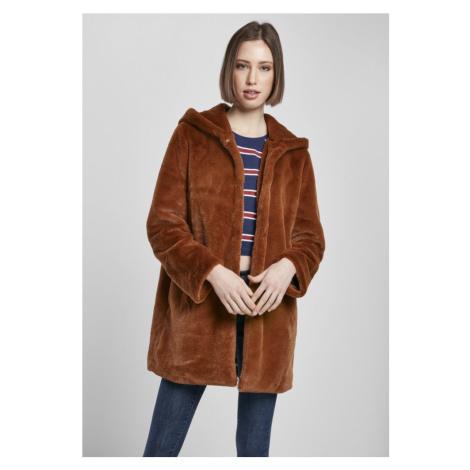 Ladies Hooded Teddy Coat - toffee Urban Classics