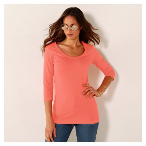 Blancheporte Jednobarevné tričko s 3/4 rukávy broskvová