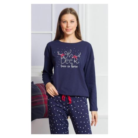Dámské pyžamo dlouhé Adéla, XL, tmavě modrá Vienetta Secret
