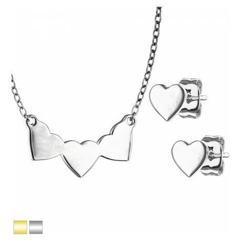 Ocelová 316L dvojdílná sada - náušnice a náhrdelník se vzorem srdce, lesklý povrch - Barva: Zlat Šperky eshop