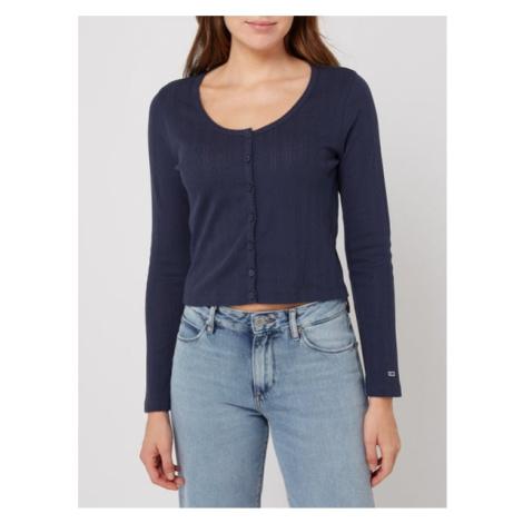 Tommy Hilfiger Tommy Jeans dámský modrý svetr POINTELLE BUTTON THRU