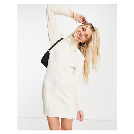 Wednesday's Girl relaxed jumper dress in rib knit-White