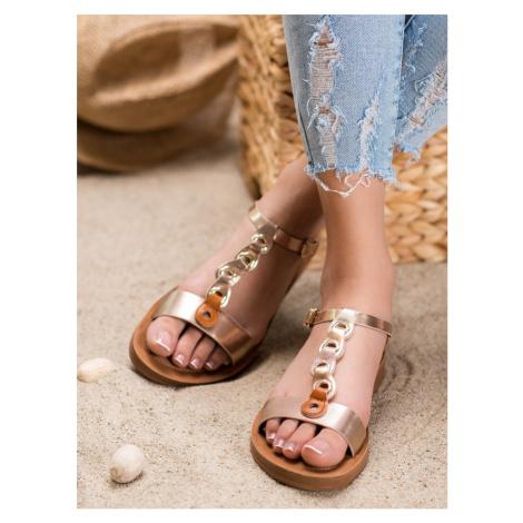 Stylové sandály hnědé dámské bez podpatku FILIPPO