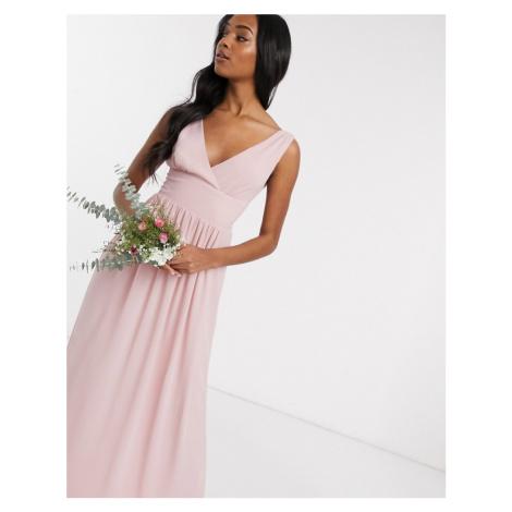 TFNC Bridesmaid top wrap chiffon dress in pink