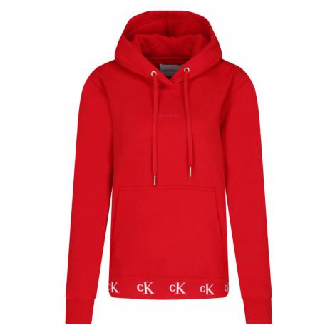 Calvin Klein Calvin Klein dámská červená mikina CK LOGO TRIM HOODIE