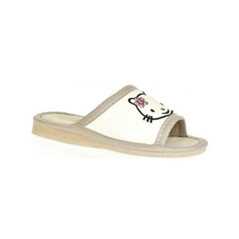 John-C Detské biele papuče AHOJ KITTY Bílá