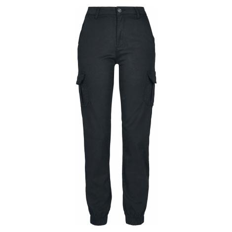 Urban Classics Dámské kapsáče s vysokým pasem Cargo kalhoty černá