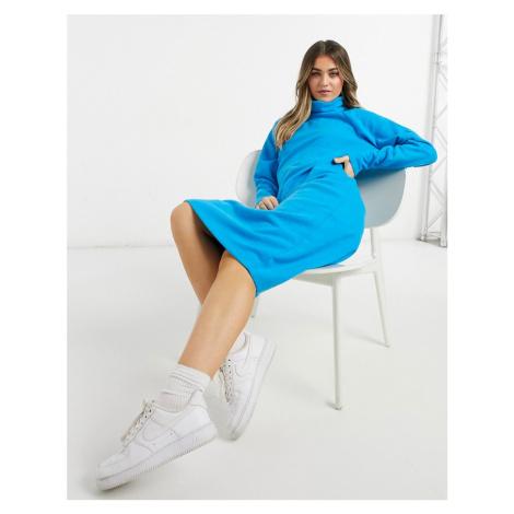 ASOS DESIGN super soft exposed seam jumper midi dress with cowl neck in blue