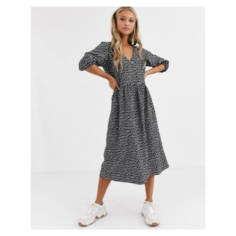 ASOS DESIGN mono floral jacquard wrap smock dress-Multi